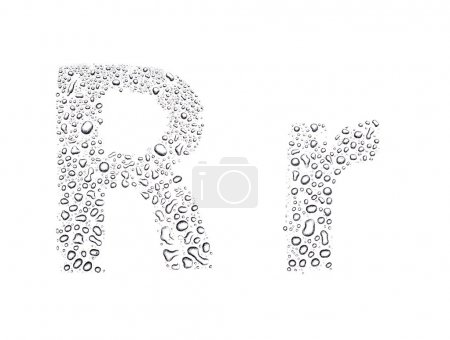 Water drops alphabet letter r, isolated white
