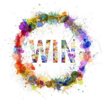 Win concept, watercolor splashes as a sign