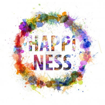 Happiness concept, watercolor splashes as a sign
