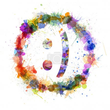 Photo for Emoticon smile concept, watercolor splashes as a sign isolated on white - Royalty Free Image