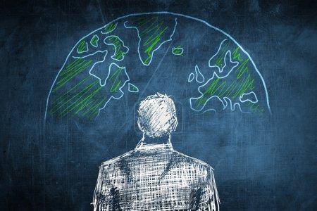 Photo pour Croquis homme d'affaires global concept avec globe terrestre - image libre de droit
