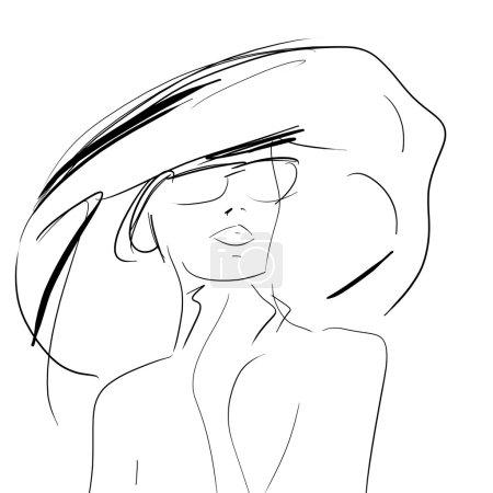 Photo pour Femmes conceptuelles au grand chapeau et des lunettes de soleil, mode dessin esquisse à main - image libre de droit