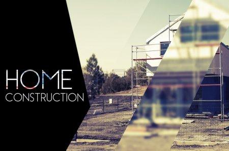 Photo pour Arrière-plan de conception de construction de maisons avec la photographie et de la typographie - image libre de droit
