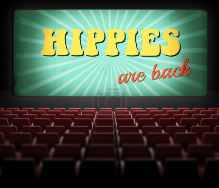 Hippies are back movie screen in old retro cinema