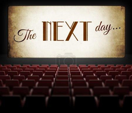 The next day movie screen in old retro cinema