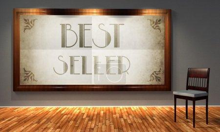 Photo pour Meilleure publicité vintage de vendeur dans l'ancien cadre façonné, rétro intérieur - image libre de droit