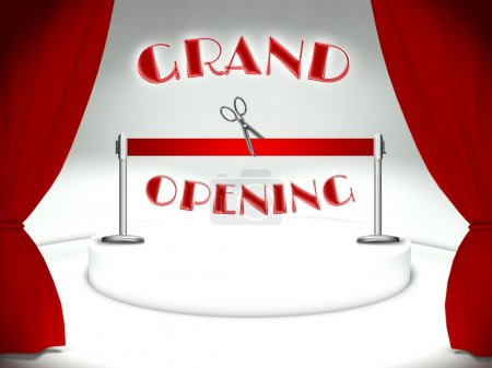 Grand opening red ribbon and