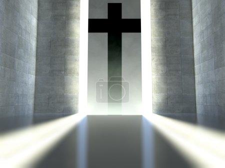 Photo pour Croix chrétienne sur le mur à l'intérieur moderne, concept de foi - image libre de droit