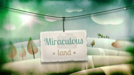 Photo pour Terre miraculeuse, illustration enfants vintage avec paysage fantastique - image libre de droit
