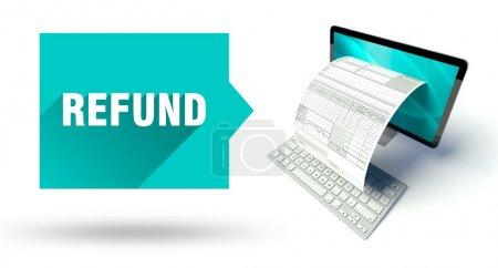 Photo pour Conseils d'experts, ordinateur réseau avec formulaire ou facture d'impôt en ligne - image libre de droit