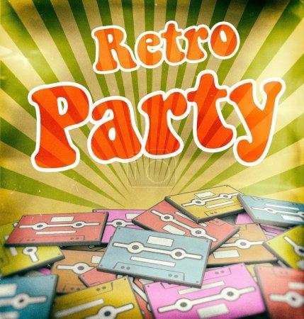 Retro Party Vintage Poster Design auf alten Kassetten