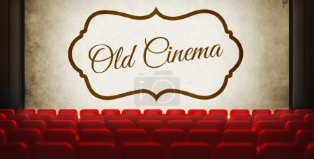 Vintage movie screen in old retro cinema