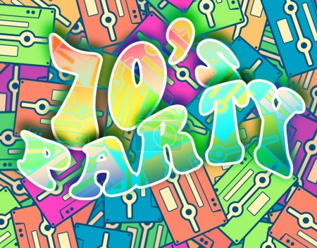 70s party retro concept, Vintage poster design