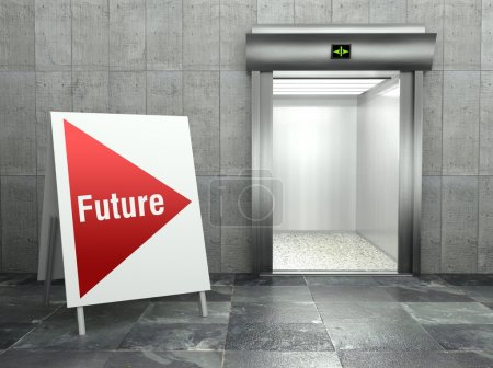 Business future. Modern elevator with open door