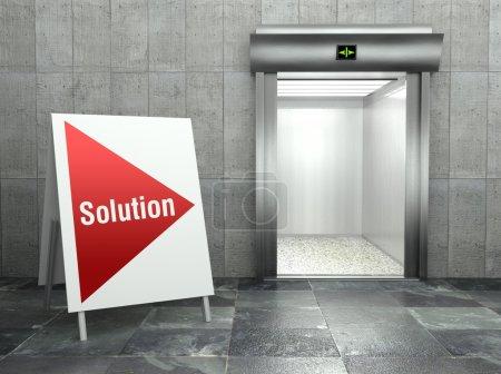 Business solution. Modern elevator with open door