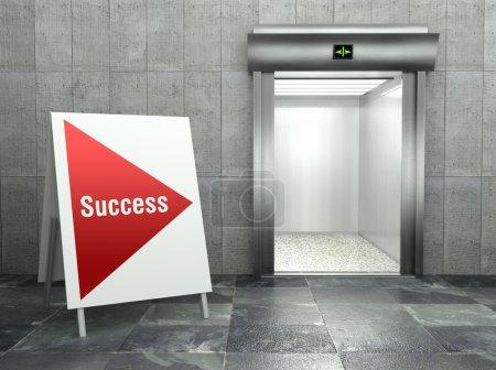 Business success. Modern elevator with open door