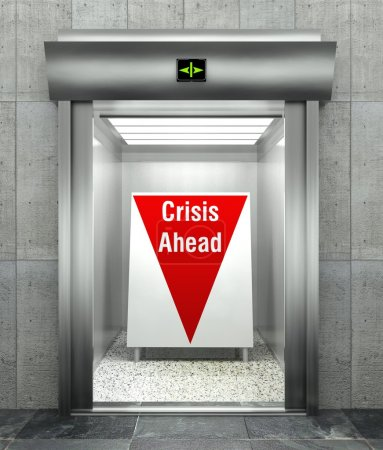Photo for Business crisis ahead concept, Modern elevator with red down arrow - Royalty Free Image