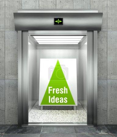 Fresh ideas. Modern elevator with open door