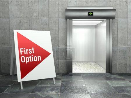 First option. Modern elevator with open door