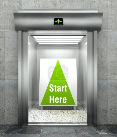 Start here business. Modern elevator with open door