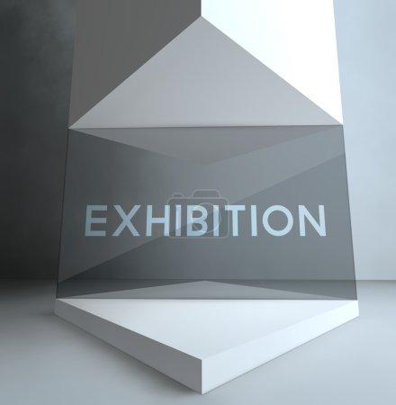 Photo pour Exposition, inscription dans la vitrine de la Galerie - image libre de droit