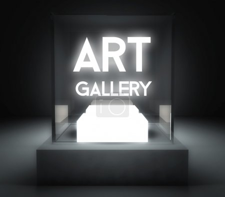 Photo pour Galerie d'art en verre vitrine d'exposition - image libre de droit