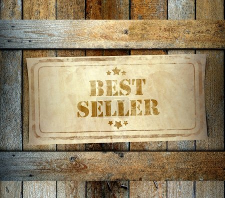 Photo pour Timbre meilleur vendeur sur étiquette vieille boîte en bois - image libre de droit