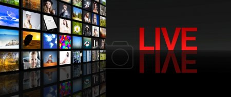 Live television screens black background