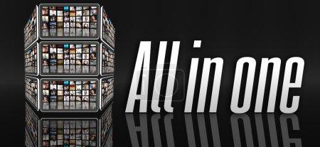 Photo pour Tout dans le concept d'un seul appareil, comprimés avec beaucoup des icônes ou des écrans lcd - image libre de droit