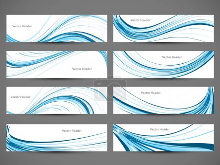 Abstract blue colorful shiny line header wave set vector