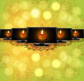 Beautiful happy diwali led tv screen set reflectio green colorfu
