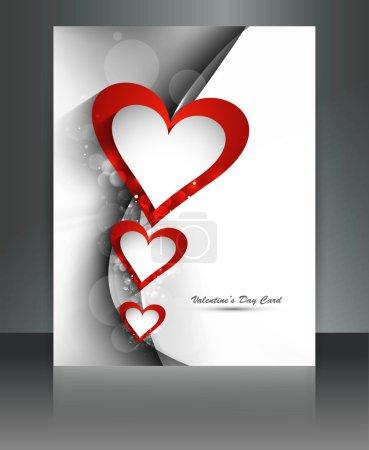 Illustration pour Jours de la Saint-Valentin coeur brochure vague carte fond illustration - image libre de droit