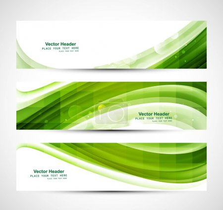 Illustration for Abstract business three green wave header whit vector - Royalty Free Image