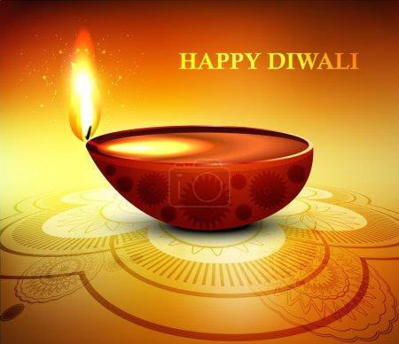 Happy diwali diya greeting card shiny colorful background vector