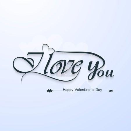 Illustration pour Je t'aime texte titre calligraphiques et heureuse Saint-Valentin lettrage vector - image libre de droit