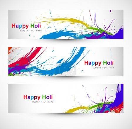 Header colorful set grunge dirty of holi festival ...