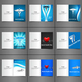 World health day greeting card collection set presentation concept with medical symbol vector illustration