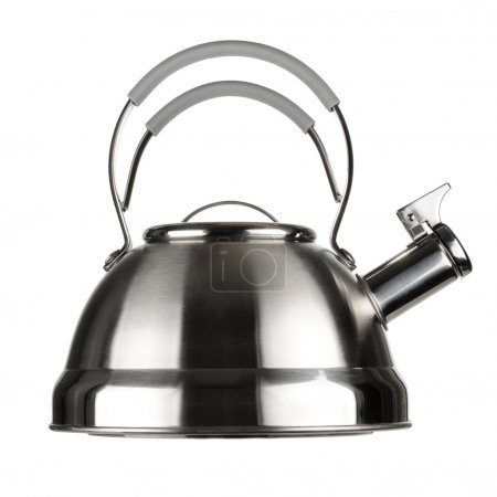 Steel kettle isolated on white background...