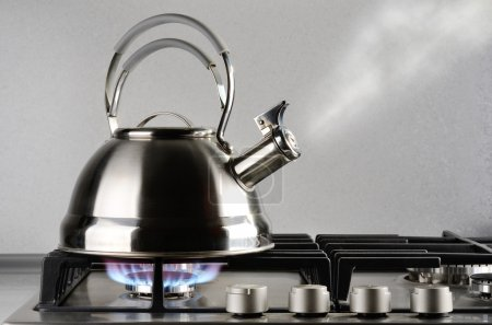 Tea kettle with boiling water on gas stove...