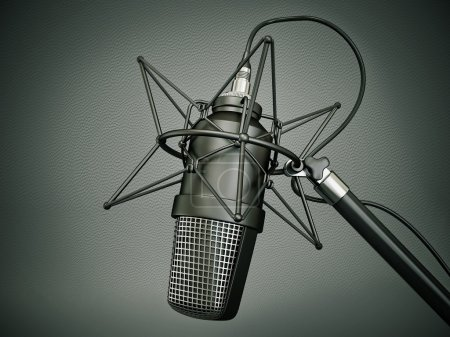 Photo for Studio microphone isolated on a dark background - Royalty Free Image