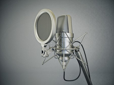 Studio microphone isolated on a grey background...