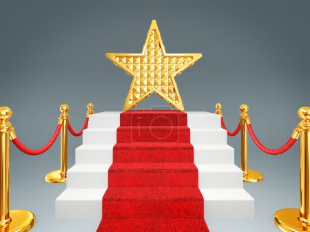Photo for Gold star on a red carpet. 3d image - Royalty Free Image