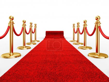 Photo for Red event carpet isolated on a white background - Royalty Free Image