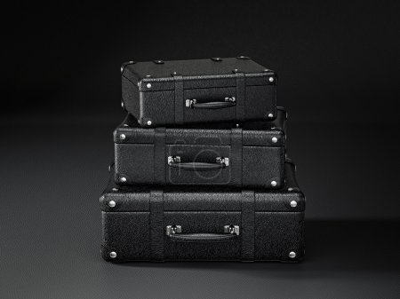Photo pour Valise noire isolée sur fond noir - image libre de droit