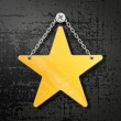 Yellow star on a black background isolated...