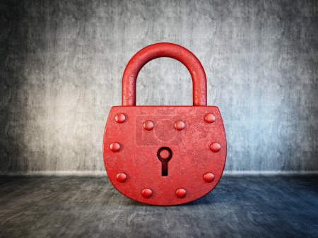 Photo for Red lock isolated on a concrete background - Royalty Free Image