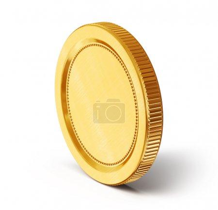 Photo pour Pièce d'or isolée sur fond blanc - image libre de droit