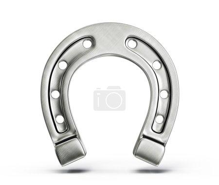 Photo for Silver horseshoe isolated on a white background - Royalty Free Image