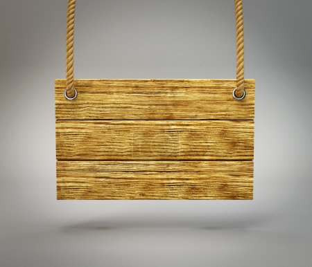 Photo for Wooden board isolated on a grey background - Royalty Free Image