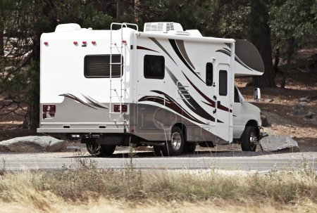 Photo for Class C Motorhome ( Rear ) - Campsite. Class C Recreational Vehicle. Recreation Photo Collection. - Royalty Free Image